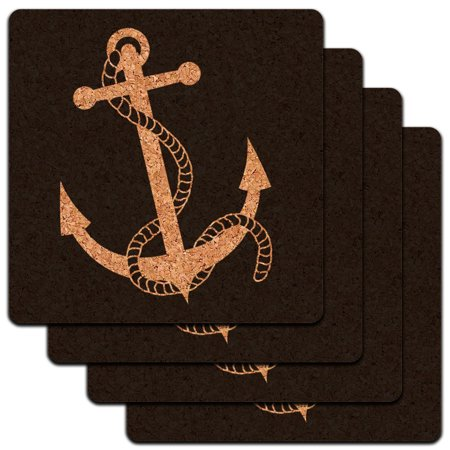 Anchor Coasters (Anchor and Rope Boat Boating Low Profile Cork Coaster Set )