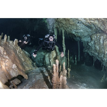 Technical Divers In Dreamgate Cave System In Mexico Canvas Art   Karen Doodystocktrek Images  35 X 23