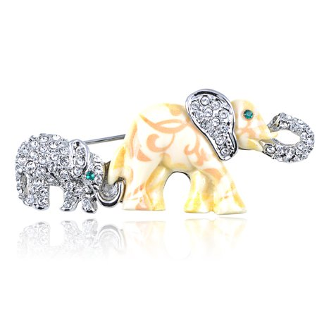 Crystal Elements Mother Daughter Elephant Family Fashion Pin Brooch