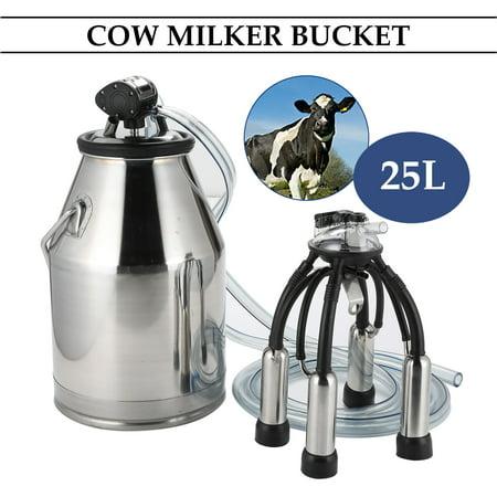 Dairy Cow Milker Milking Machine Bucket Tank Barrel Stainless Steel 25L(6.6 gallon) - Livestock Stock Tanks