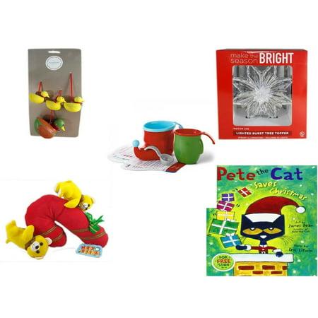 Christmas Fun Gift Bundle [5 Piece] - Martha Stewart Woodland  Set of 4 Duck Ornaments - Deck The Halls Lighted Burst Silver Tree Topper - Hallmark Bake Like an Elf Kit with Recipe Cards - Merry  Ca ()