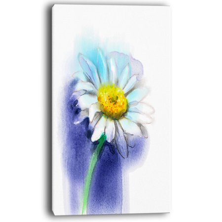 Design Art White Gerbera Daisy in Blue Painting Print on Wrapped - Red White And Blue Face Painting Ideas