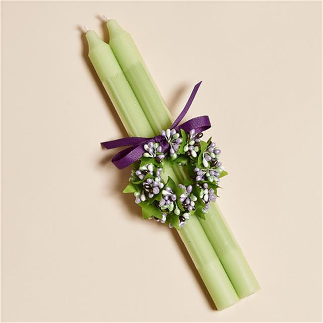 Harvest of Barnstable MCRLV 12 inch Mint Green Candle Stick With Two Lavender And Green Candle Rings - Set Of 2