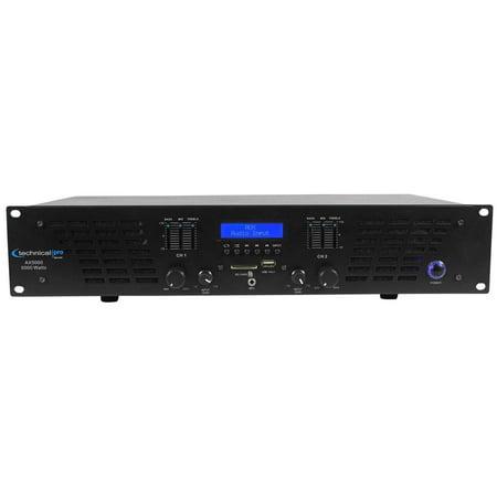 Technical Pro AX5000 5000 Watt 2 Channel 2U DJ Power Amplifier w USB, SD,