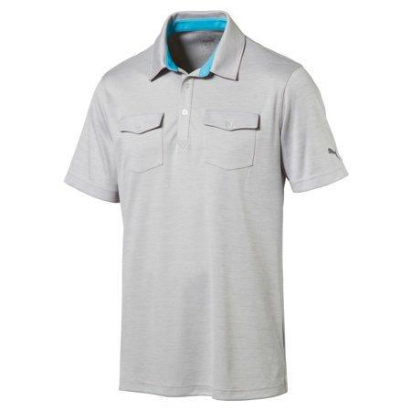 MenS Tailored Double Pocket Polo Light Gray Heather S
