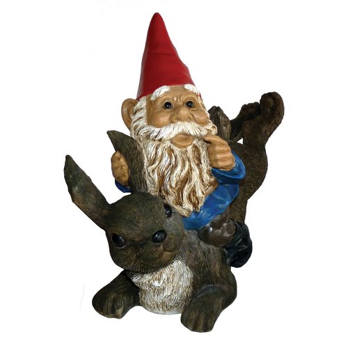 Michael Carr Garrold Gnome on Rabbit Statue