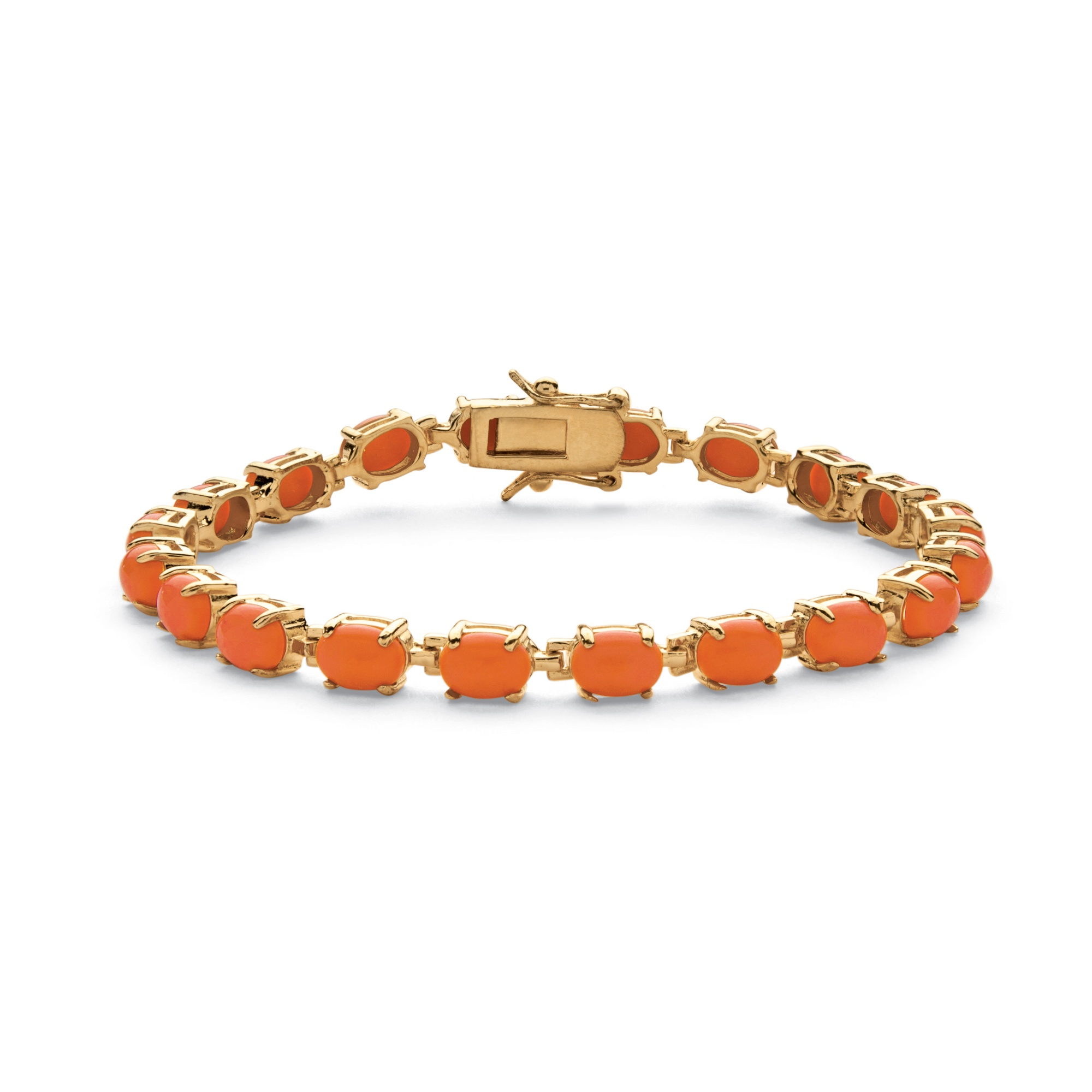 "Oval-Cut Simulated Coral Cabochon Tennis Bracelet in 14k Gold-Plated 7.5"" by PalmBeach Jewelry"