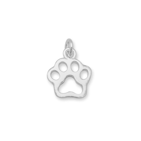 Small Cut Out Football Charm - Small Cut Out Paw Print Charm Fashion Womens 925 Sterling Silver