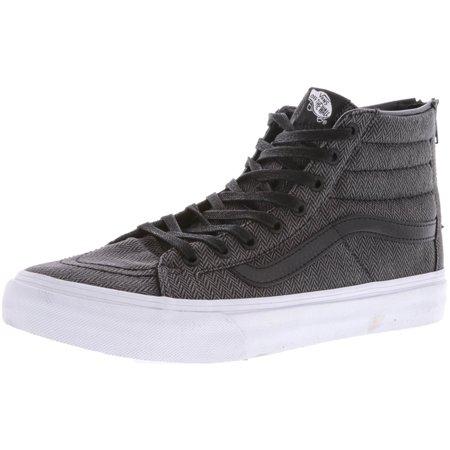 cbcefd93a54 Vans - Vans Sk8-Hi Slim Zip Herringbone Tweed Black   Leather High-Top  Skateboarding Shoe - 10M 8.5M - Walmart.com