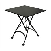 European Cafe Square Folding Table w Steel Metal Top