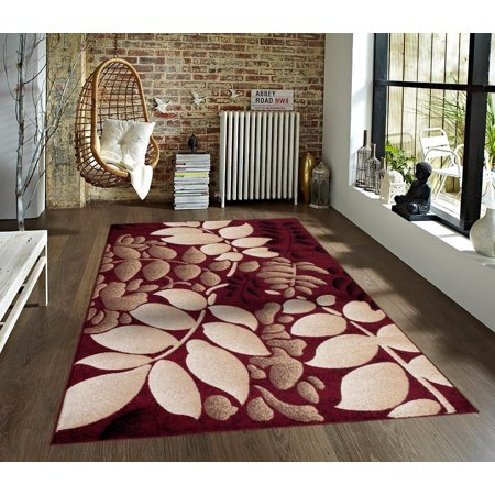 Persian Rugs 7001 Burgundy Floral Contemporary Area Rug