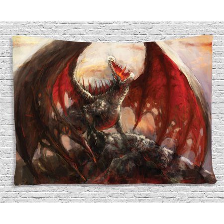 Fantasy World Decor Tapestry, Majestic Dragon Mountain Top Mythological Fire-Spewing Creature Spooky Decor, Wall Hanging for Bedroom Living Room Dorm Decor, 60W X 40L Inches, Multi, by Ambesonne