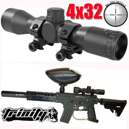 Paintball 4x32 Compact Scope for Us Army Alpha Black Elite Paintball Gun,paintball Scope,paintball Sight,paintball... by