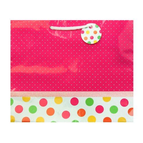 Berwick Offray Large Vogue Pink Dot Border Gift Bag