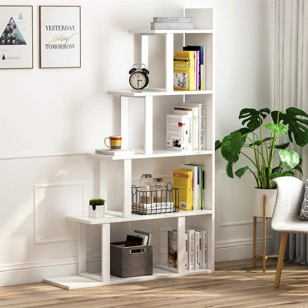 Tribesigns 5-Shelf Ladder Corner Bookshelf, Modern Simplism Style, White