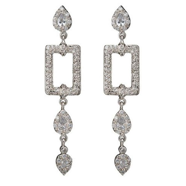 CZ EAR1433 C. Z.  Square Outline With Hanging Drops Rhodium - . 925 - Sterling Silver Earrings