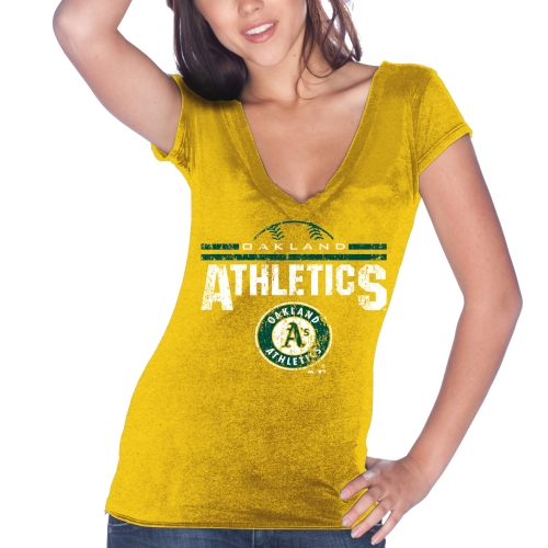 Oakland Athletics Majestic Threads Women's Varsity Tri-Blend V-Neck T-Shirt - Gold