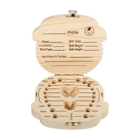 HERCHR Baby Teeth Storage Box, Milk Teeth Wooden Tooth Storage Box For Kids Baby Save 3-6YEARS Creative Gift for Baby Boy](Creative Gifts For Kids)