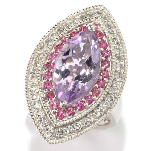 Dallas Prince  Sterling Silver 4 7/8ct Marquise Pink Amethyst Multi-gemstone Ring