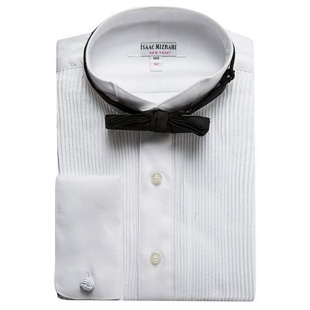 Cotton Non Iron French Cuff (Isaac Mizrahi Boys SH9250B 100% Cotton French Cuff Twill Wing Tip Collar - White - 8 )