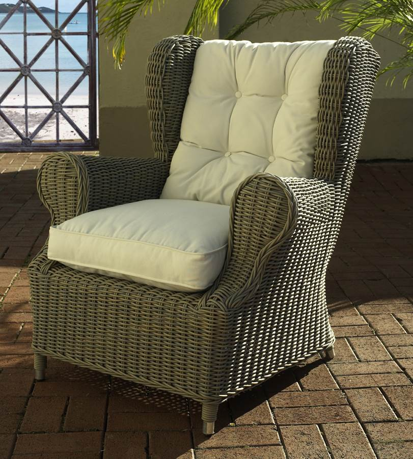 Outdoor Wing Chair in Kubu Grey