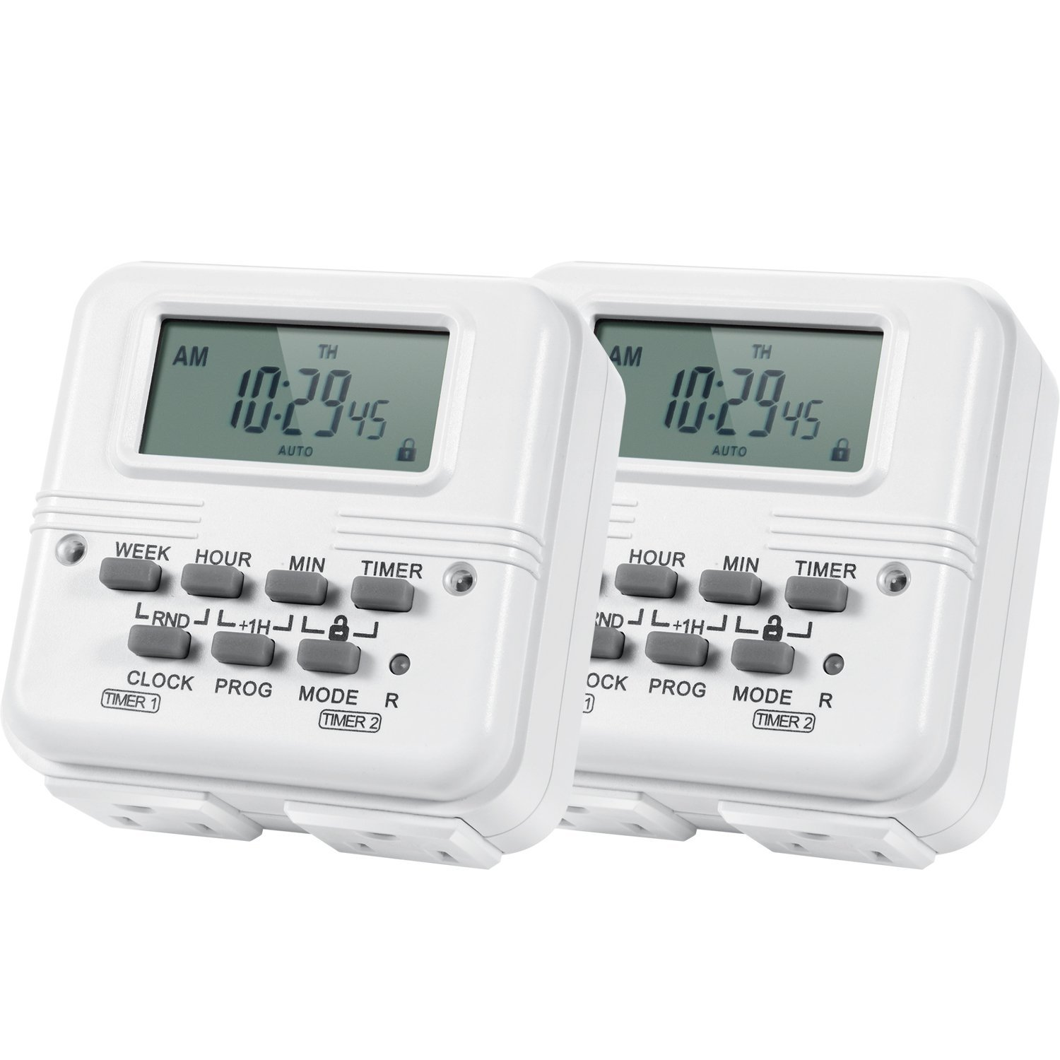 Outlet Timer, AstroAI 7-Day Programmable Dual Electrical Plug-In Switch, Heavy Duty with 2-Side Independent 3- Prong Timer Setting, 15A/1875W (2 Pack)
