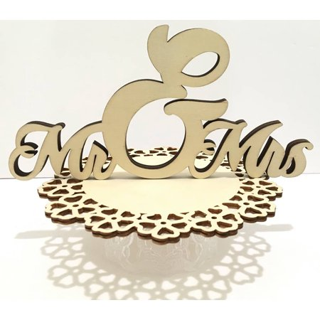 Mr & Mrs Laser Cut Wood Base Centerpiece Cake Table Decoration For Wedding - Cake Table