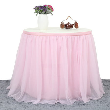 9 ft Pink 3 Layer Mesh Fluffy Tutu Table Skirt Tulle Tableware Table Cloth For Wedding Baby Shower - Tutu Table Skirt For Sale
