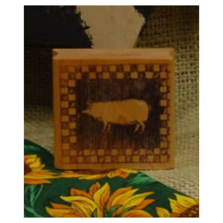 - Pig Block with Checked Border Art Rubber Stamp