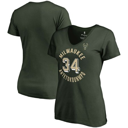 Milwaukee Brewers Green - Giannis Antetokounmpo Milwaukee Bucks Fanatics Branded Women's Notable Name & Number V-Neck T-Shirt - Hunter Green