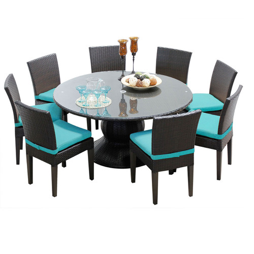 TK Classics Napa Wicker 9 Piece Patio Dining Set with 16 Cushion Covers