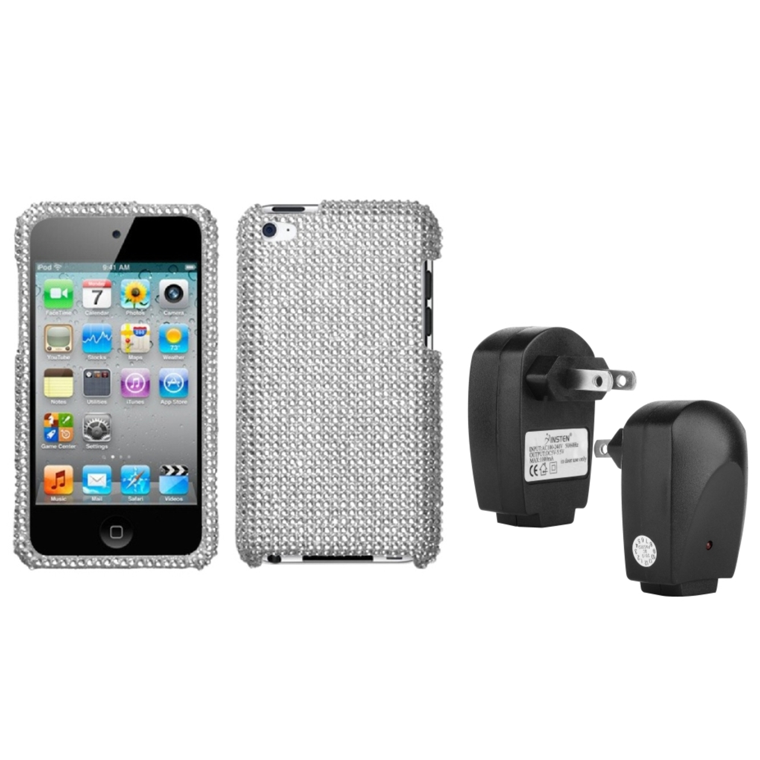 Insten Silver Protector Cover(Diamante 2.0) Case For iPod Touch 4+USB AC Wall Charger