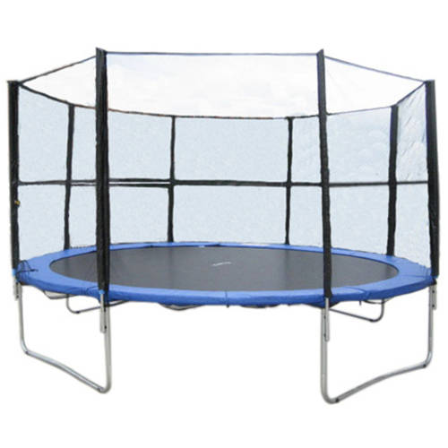 ExacMe 12' Trampoline with Safety Pad and Enclosure Net and Ladder Combo Set