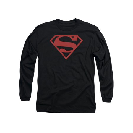 Superman DC Comics Red On Black Shield Adult Long Sleeve T-Shirt Tee