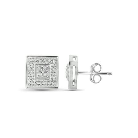 White Diamond Accent Square Sterling Silver Stud