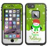 Skin Decal for LifeProof Apple iPhone 6 Case - Holiday Penguin with Scarf on Green