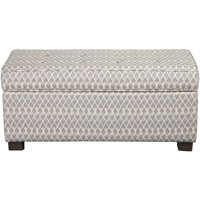HomePop Large Decorative Storage Ottoman, Grey Diamond
