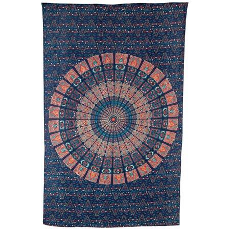 - Luna Bazaar Cyra Bohemian Mandala Tapestry, Wall Hanging, and Bedspread (Medium, 4.5 x 7 Feet, Blue and Orange, 100% Cotton, Fair Trade Certified)