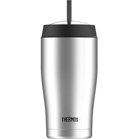 Thermos 22 Ounce Vacuum Insulated Cold Cup with Straw, Stainless