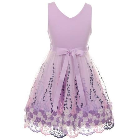 Little Girls Lovely V Neck Embroidered Floral Summer Party Flower Girl Dress Lavender 4 (2J1K2S5) Big Kids Lavender Apparel