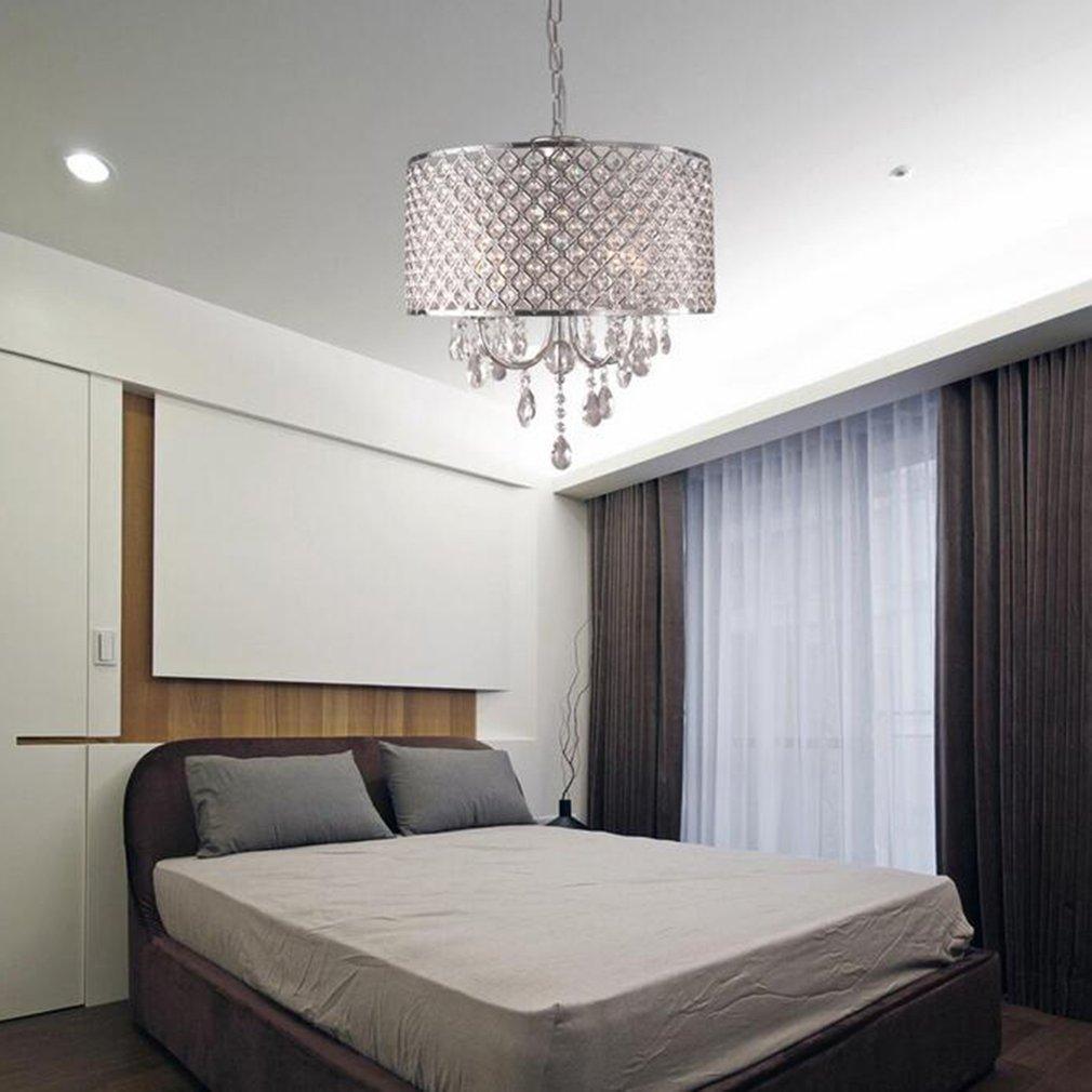 4 Lights Drum Chandelier Modern Crystal Ceiling Light Fixture Pendant Lamp