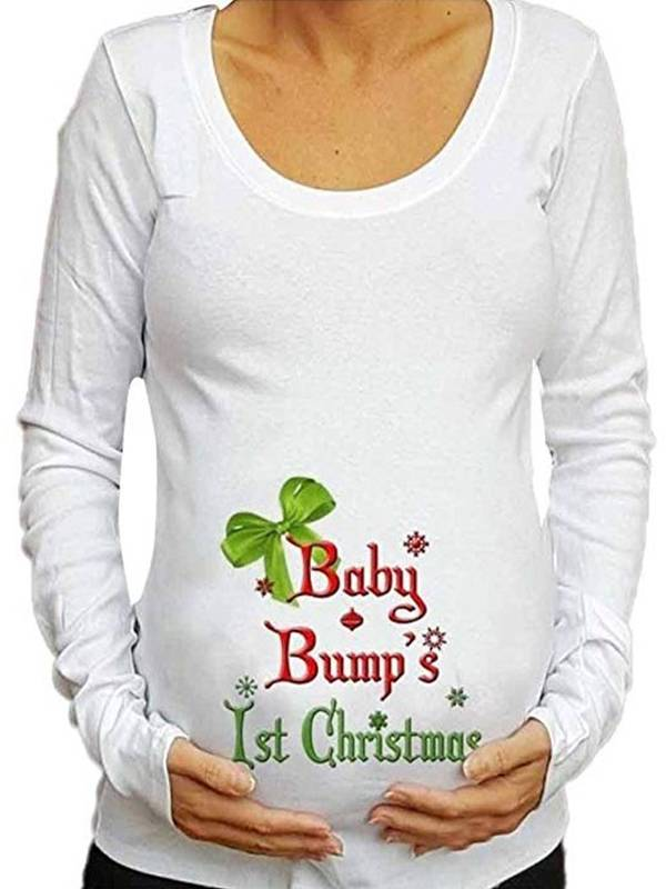 TINHAO Women's Christmas Gifts Letter Printed Long Sleeve Tops Baby For Maternity Casual T-Shirt