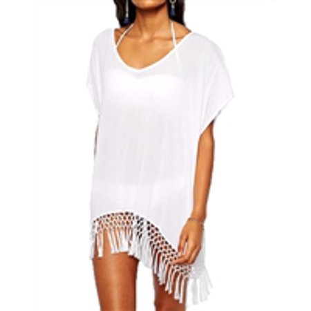 Blue Island Fringe Hem Loose Caftan Swim Cover Up,