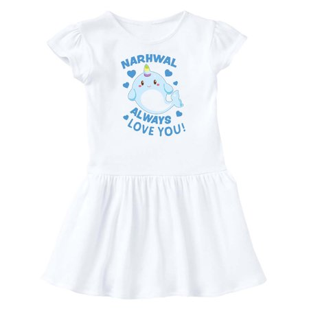 Valentines Day Narwhal Always Love You in Blue Infant Dress