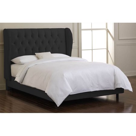Skyline Tufted Wingback Bed Foam Padding Black Full