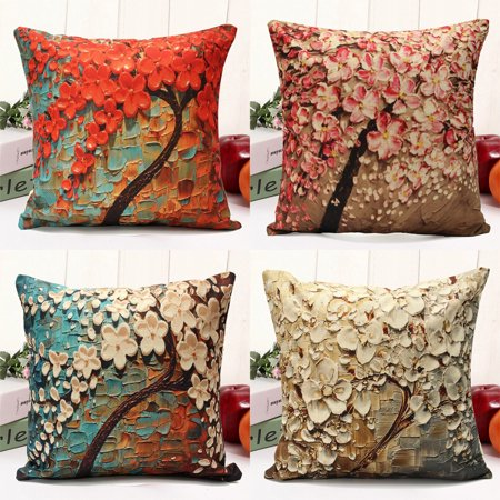 Meigar Non-3D Printed Flower Tree Cotton Linen Decorative Throw Pillow Case Cushion Cover Clearance18''x18''Pillowcase Pillow Protector Slip Cases Sham for Couch Sofa Car Home ()