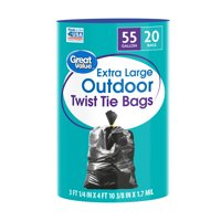 Great Value Extra Large Outdoor Trash Bags, 55 Gallon, 20 Bags (Twist Tie)