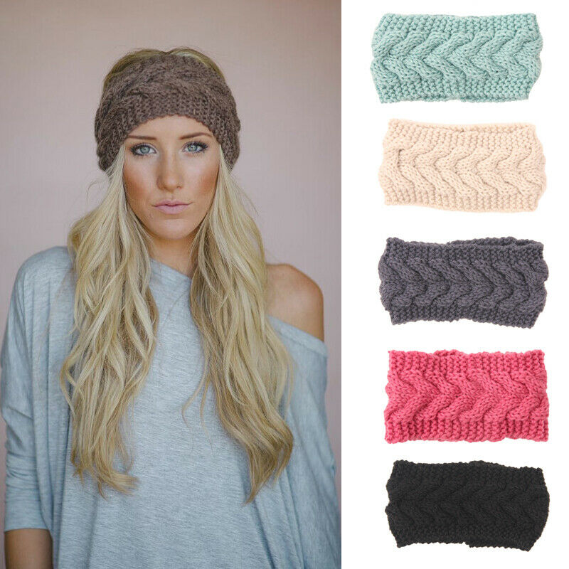 Ladies Women Crochet Headband Knit Flower Hairband Ear Warmer Winter Head Wrap