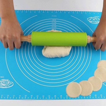Kitchen Wooden Rolling Pin Fondant Cake Decoration Dough Roller Baking S - image 1 de 7