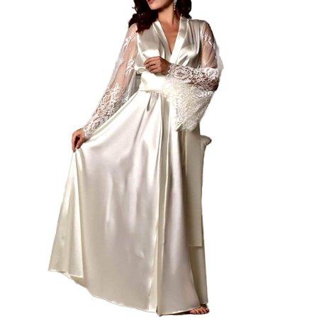Womens Dressing - Womens Lace Trim Kimonos Robes Long Satin Dressing Gown Bathrobe Sleepwear Loungewear S-XL